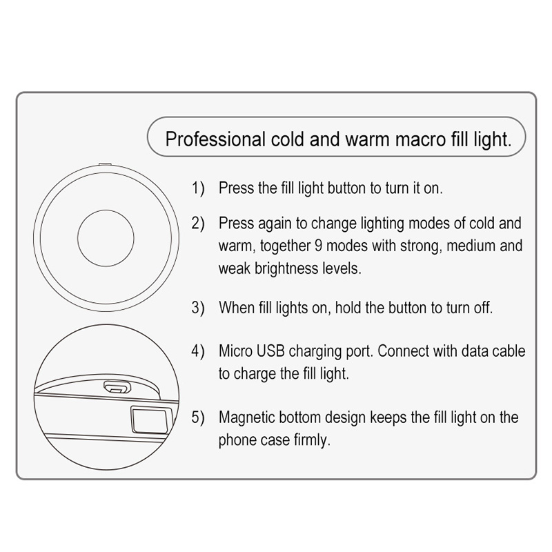 3 in 1 Portable Lens+ Selfie LED Fill Light Lamp Camera Photography for iPhone 6/6s/7/8 HSJ 19