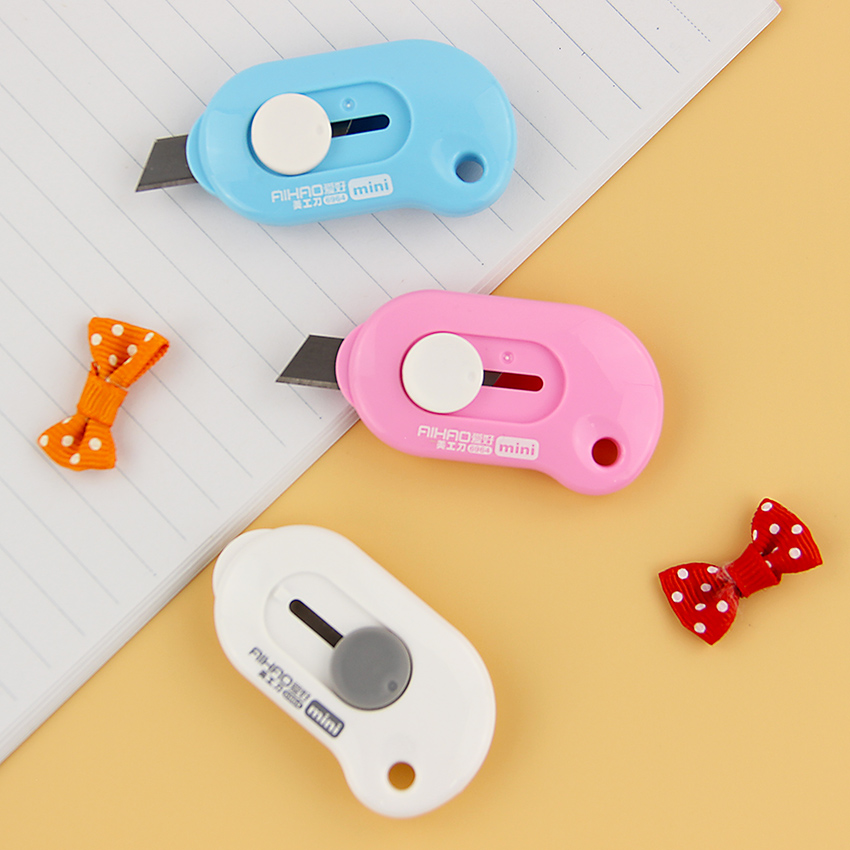 1PC Cute Solid Color Mini Portable Utility Knife Paper Cutter Cutting Paper Razor Blade Office Stationery Escolar Papelaria цена и фото