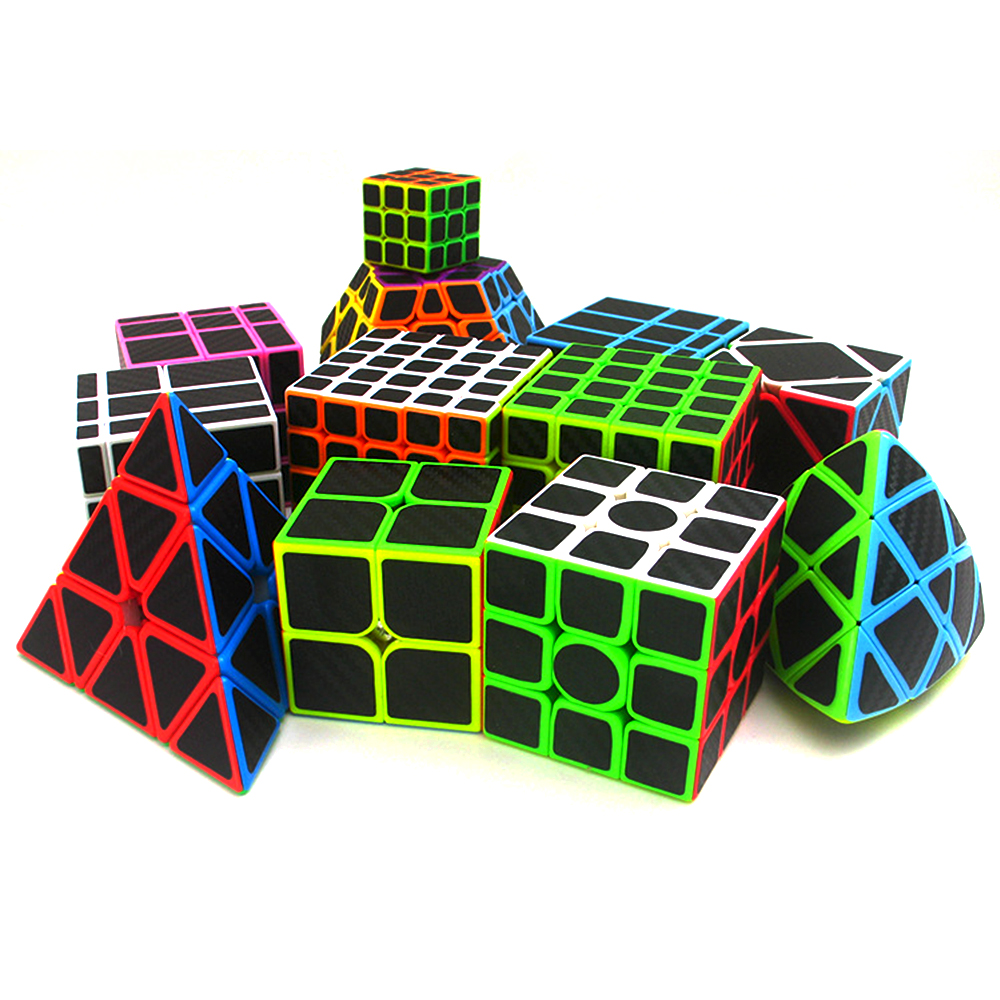 ZCUBE 14 Kinds Carbon Fiber Speed Cubes Sticker Magic Cube Cubo Magico Puzzle Toy Children Kids Gift Toy Youth Adult Instruction
