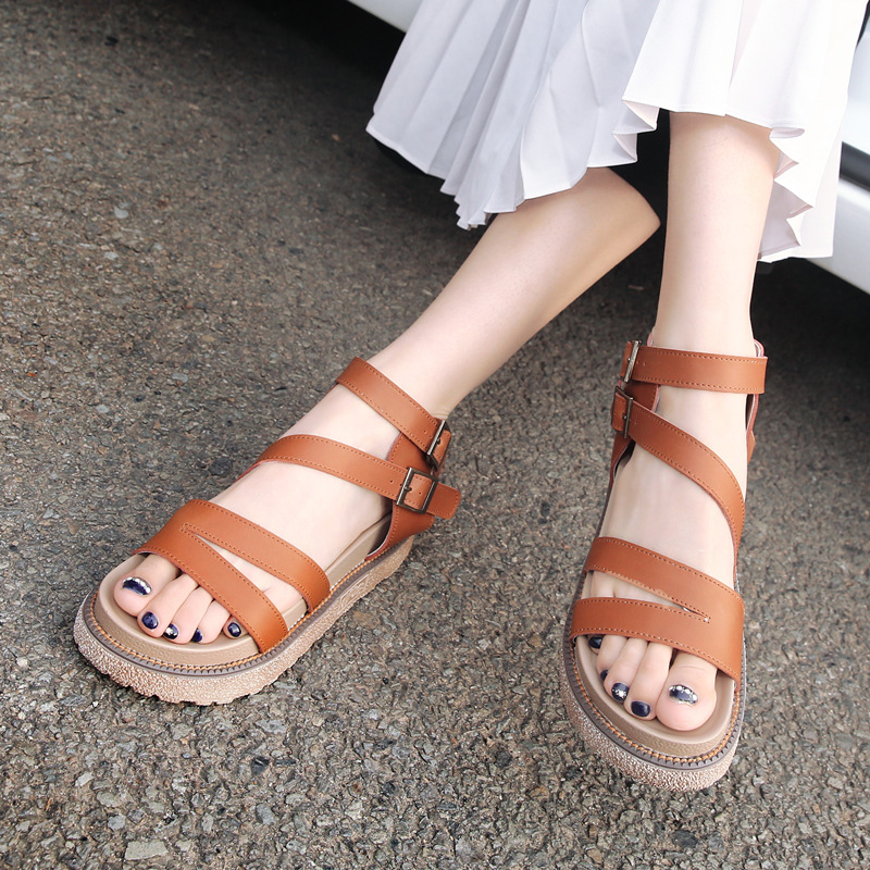 Summer Shoes Women Flat Heel Sandals Leather Platform Shoes Casual Women Sandals Big Size 34-43 Ladies Sandals 2018 women sandals hot sale platform heel sandals ladies casual shoes flats women fashion
