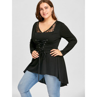 CharMma New Fashion Women Loose Top Spring Autumn Long Sleeve High Low Lace Shirts Ladies Big