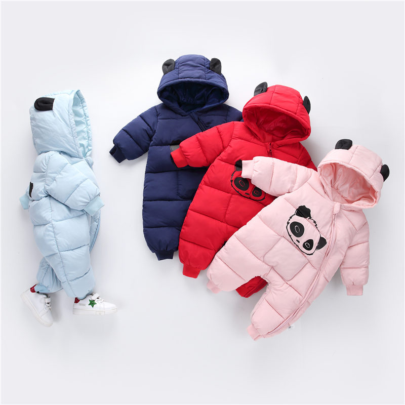 Baby Boy Girl Clothes 2018 Newborn Winter Hooded Down Rompers Thick Cotton Outfits Jumpsuit Children Costume Toddler Romper newborn baby romper winter clothes hooded cotton outdoor roupas para recem nascido long sleeve baby boy winter thick 607022