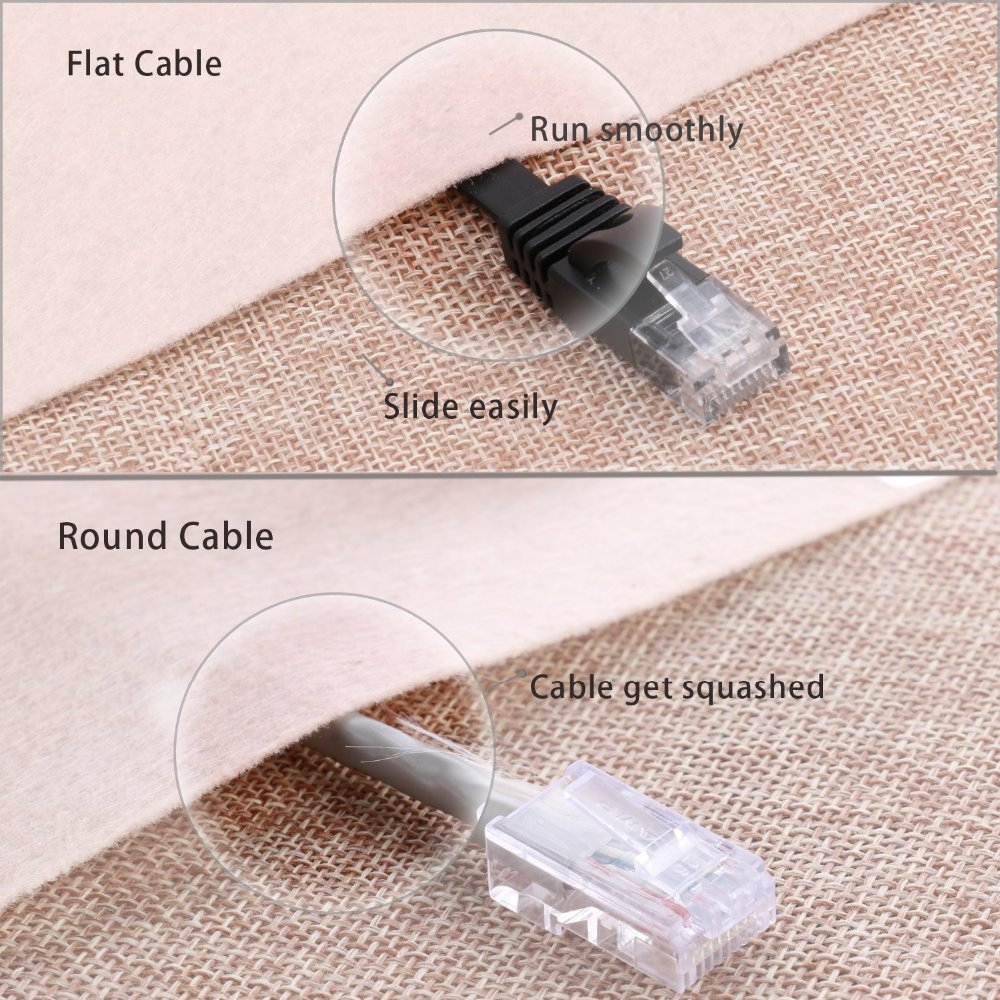 6PacK Flat Internet Network Cable Cat6 Computer Cable short Cat6 Ethernet Patch Lan Cable With Snagless Rj45 Connectors 1 Feet