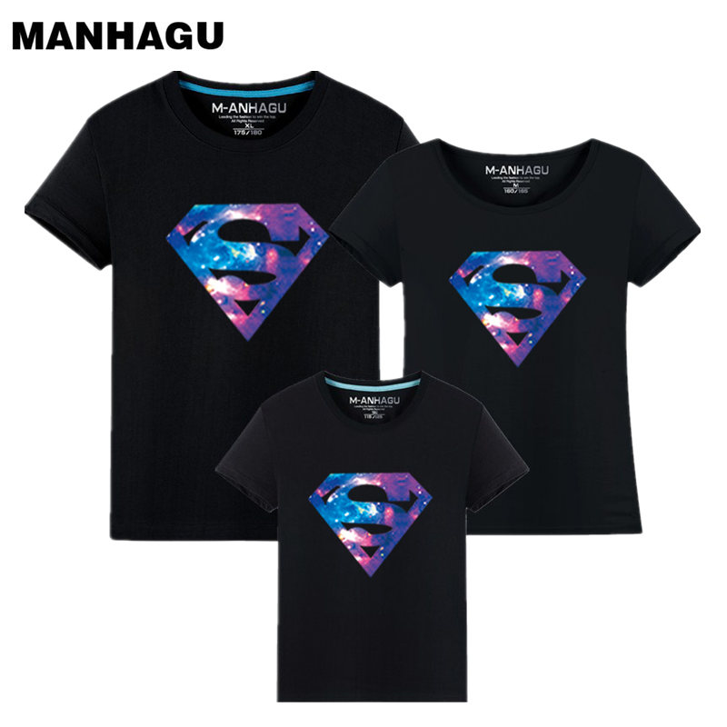 Summer Style Superman Mother and Daughter Father and Son Pakaian Mommy and Me Pakaian Keluarga Matching T shirt Quality Cotton
