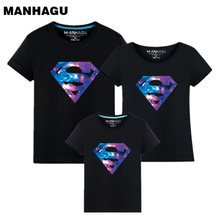 Summer Style Superman Mother and Daughter Father Son Clothes Mommy Me Family Matching T shirts Quality Cotton