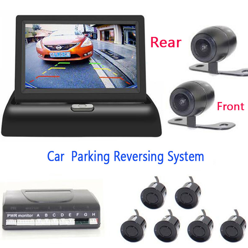 All in one Car parking Sensor Video Reverse Radars with car Rear view Parktronic camera car front camera 4.3 inch Mirror monitor dual core cpu 4 3inch monitor mirror car parking sensor 8 redars car rear front view camera parktronic system rear view mirror