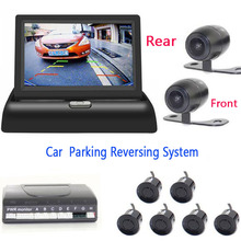 All in one Car parking Sensor Video Reverse Radars with car Rear view Parktronic camera car front camera 4.3 inch Mirror monitor koorinwoo 4in1 car monitor reverse radar 8 probes car parking sensor beep alarm parktronic with rear view camera automobiles