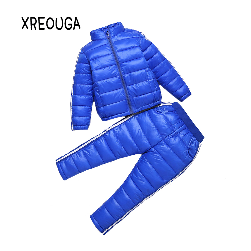 New Winter Unisex Warm Candy Color Suit Casual Active Solid Pink Down Coats Comfortable Fashion Kids Zipper Thicker Pants XRW01 new winter women down cotton jackets fashion solid color hooded thicker keep warm casual tops plus size elegant coat okxgnz a752