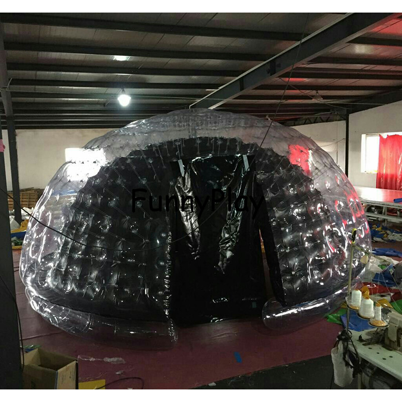 inflatable airtight camping tent half clear half black bubble house for hotel rental,Family Camping Backyard Advertising