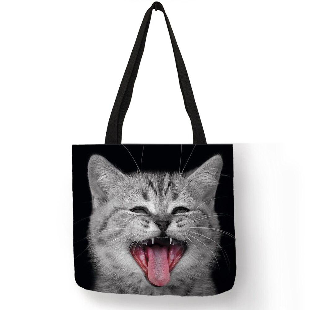 3 D Vivid  Cat Reusable Shopping Bag Women Casual Totes Bags With Print Linen Handbags3 D Vivid  Cat Reusable Shopping Bag Women Casual Totes Bags With Print Linen Handbags