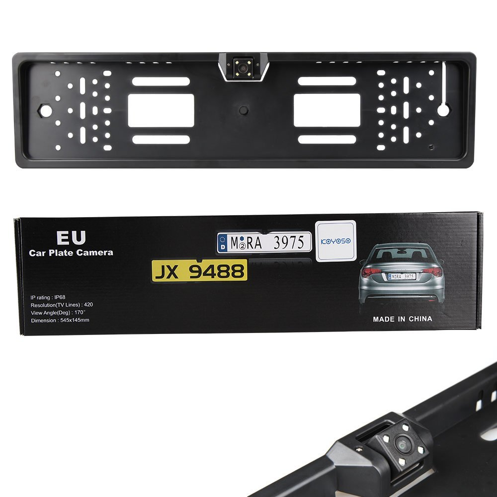 European Car License Plate Frame Reverse Rear View Backup