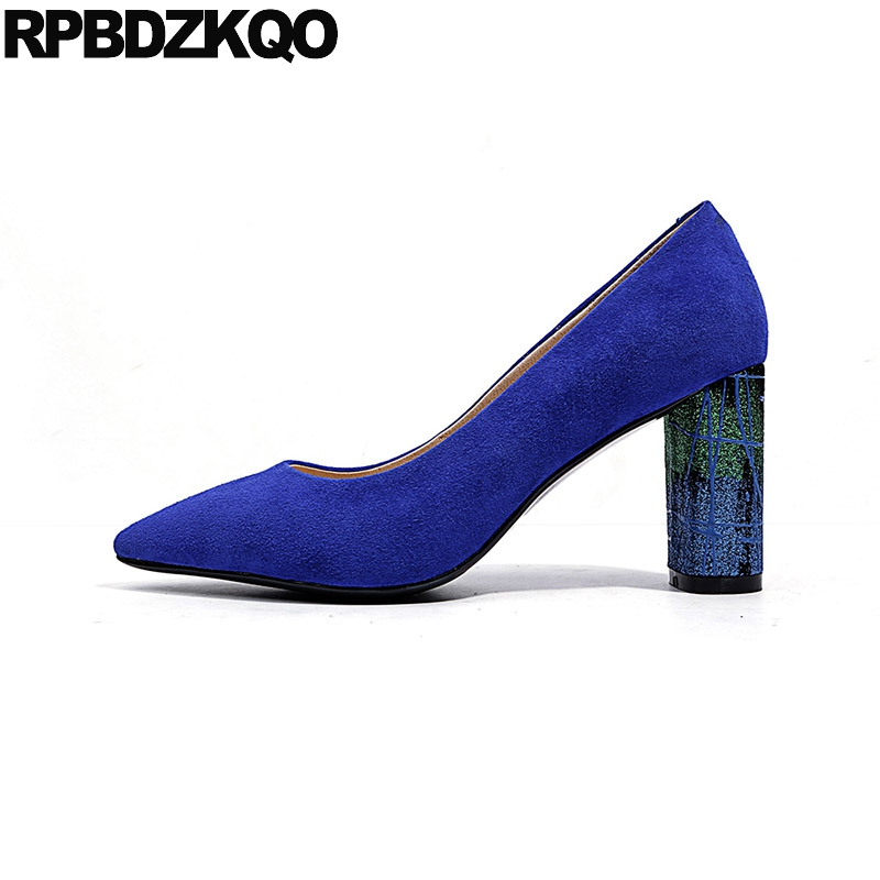Size 4 34 3 Inch Glitter High Quality 2018 Royal Blue Suede Shoes Women Pumps Genuine Leather Chunky Heels Pointed Toe CelebritySize 4 34 3 Inch Glitter High Quality 2018 Royal Blue Suede Shoes Women Pumps Genuine Leather Chunky Heels Pointed Toe Celebrity