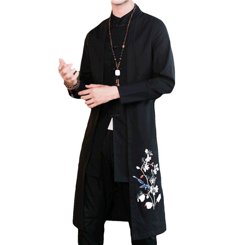 Das Beste Herbst Beste-verkauf Mantel Männer Große Größe 5xl Herren Lange Jacke Chinesischen Stil Bestickt Lange Mäntel Baumwolle Und Leinen Stoff Jade Weiß