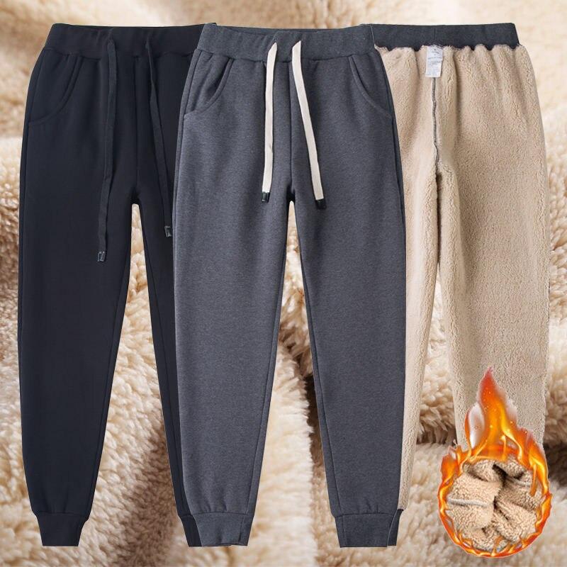 Autumn Winter Lambswool Warm Pants Women Thicker Elastic Waist Pants Plus Size Lambskin Cashmere Pants Streetwear Trousers Z102