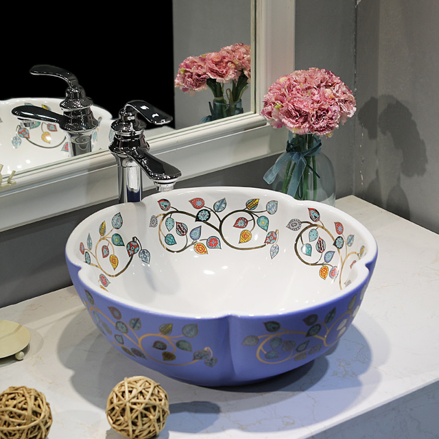 Superior Bathroom Lavabo Ceramic Counter Top Wash Basin Cloakroom Hand Painted Vessel  Sink Bathroom Sinks Bathroom Bowl