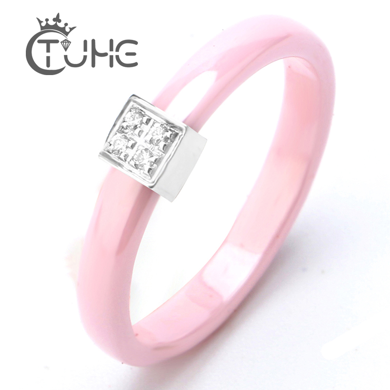 New Pink Crystal Ring 3mm Pink Ceramic Ring Stainless Steel Protruding Square With Rhinestone Women Rings For Female Jewelry