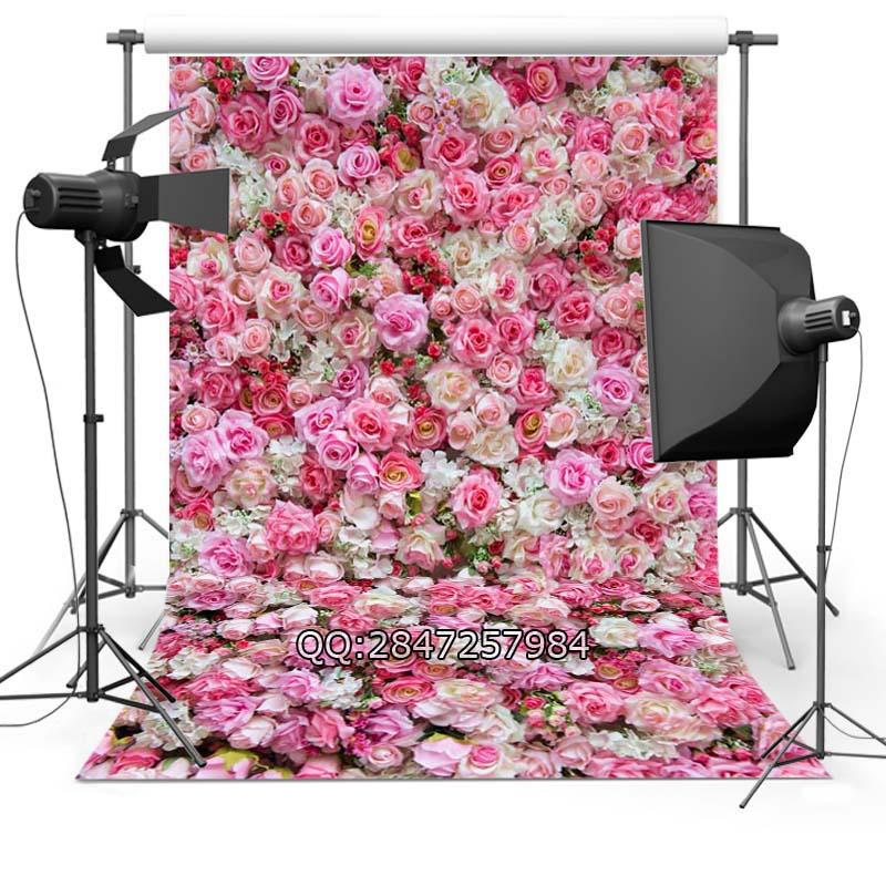Prix pour Thin vinyle photographie de mariage toile de fond de saint - valentin Backdrops imprimé avec rose fleur de pêcher papier peint F-2372