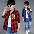 Camisas Ninos Shirts  Blouses Long Sleeve Cotton Paid Shirts For Boys Clothing 5 7 9 11 13 Years Teenagers Shirts Boys Outerwear