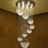 Новая современная вращающаяся лестница  дизайнерский хрустальный светильник K9  хрустальная люстра  лобби  гостиная  роскошная хрустальная ...
