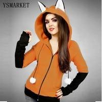YSMARKET Fox Sweatshirt Women Hoodies Long Sleeve Patchwork Rabbit Ear Hooded Sweatshirts Female Lady Autumn Hoodie Coat E201708