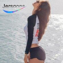 Jersqons Rash Guard Women Sunscreen Surf Clothing Swimsuit 2019 New Snorkeling Female Long Sleeved Rashguard