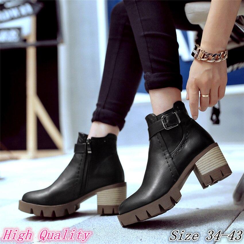 Spring Autumn Women Ankle Boots Square Low High Heels Woman Short Boots Shoes High Quality Plus Size 34-40.41.42.43 botas botte