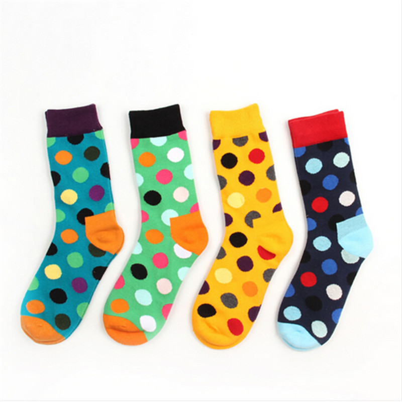 Dot Cotton Comfort Sweet Lovers Men And Women Crew Socks