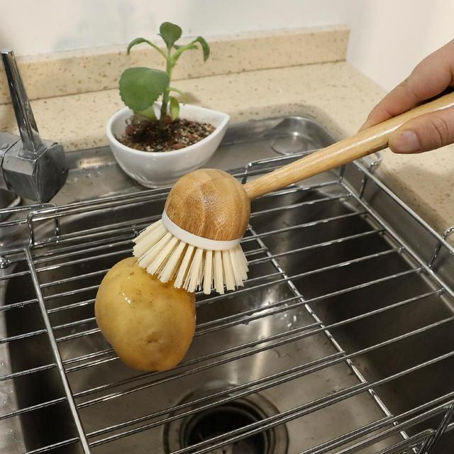 Pot Dish Bowl Brush Cooking Washing Cleaning Brush With Wooden Bamboo Long Handle Cleaning Tool Kitchen Pot Hanging Brush 3