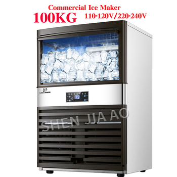 100KG Commercial Ice Machine Ice making machine Milk Tea room/small bar/Coffee shop fully automatic ice cube machine110v/220v ice making machine commercial milk tea shop ice making machine household small student dormitory mini automatic ice making