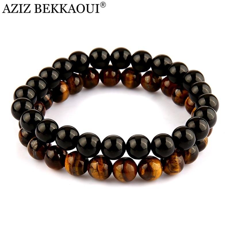 AZIZ Yoga Jewelry Men's Beaded Bracelet Black Onyx Black Lave Stone Tiger Eye Semi Precious stone Jewerly Pulseira Masculina
