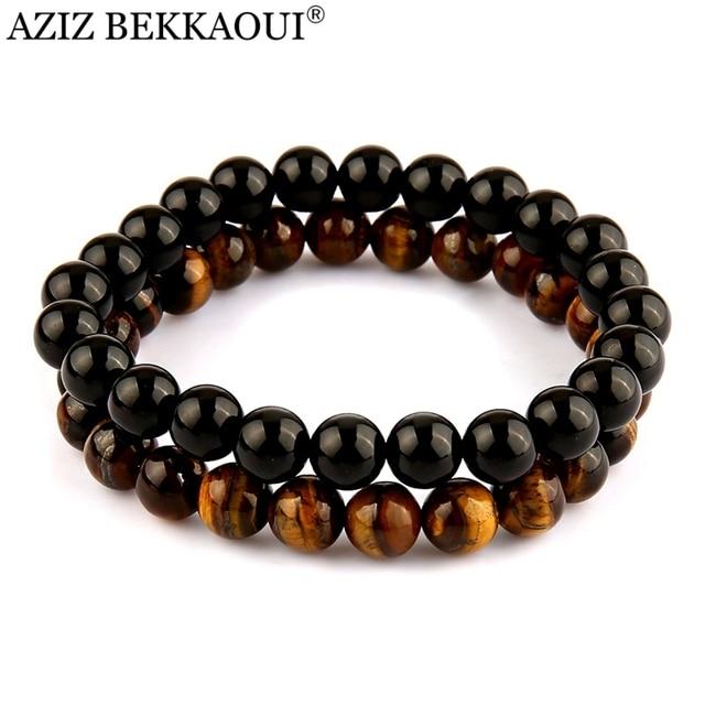 Favoriete AZIZ Yoga Sieraden heren Kralen Armband Zwarte Onyx Zwart Lave @MQ38