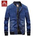 AFS JEEP Homme Bombardeiro Jaqueta de Brim Azul Plus Size Gola Zipper Dos Homens Denim Jaquetas Homens Casacos Para A Primavera Outono