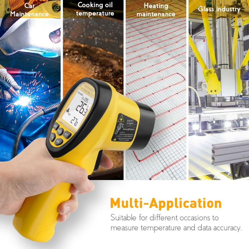 BT-985C Non-Contact Digital Double Laser Pointers IR Thermometer Gun 16:1 Distance Spot Ratio for Electric Automotive Industrial