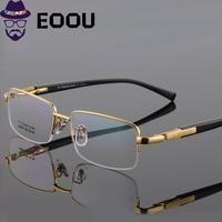 2019 Quality Titanium Glasses Frame For Men Square Semi Rimless Design Glasses Gafas Myopia oculos de grau masculino Eyewear