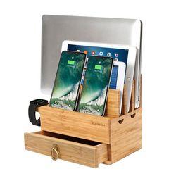 ICozzier 4 gniazda wymienny bambusowy zegarek stojak z szuflady wielu urządzeń stacja ładowania dla iWatch  smartfony  tablety  laptopy