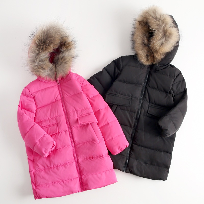 Kids parkas Children down overcoat Thicken Winter duck down outerwear Raccoon hair Collar Warm clothes Boys Girls clothing bala 2016 winter girls down parkas thermal kids jacket long for girls coat thicken clothes cold proof children overcoat clothing