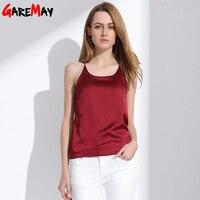 Women Silk Camisole Tank Crop Top 2015 Spaghetti Straps O Neck White Camis Sexy Sleeveless Top