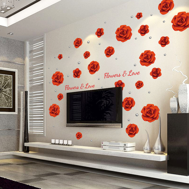 Big Size Red Rose Wall Decor Sticker Removable Flower Diy Pictures Cute Lovely Living Room