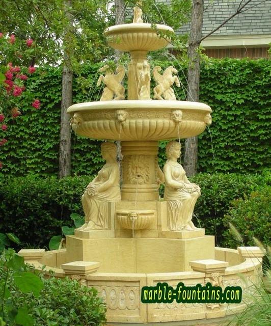 Mediterrane Landschaft Statuen Brunnen Garten Skulptur Brunnen Kleine Größe  Runde Wasser Pool Gelb Marmor Landschaft Brunnen
