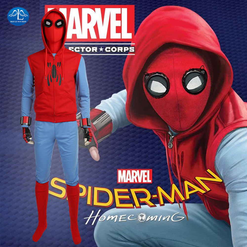 Spiderman Homecoming Cosplay Costume Tom Holland Spiderman Costume Halloween Costumes For Men Full Set With Mask Custom Made