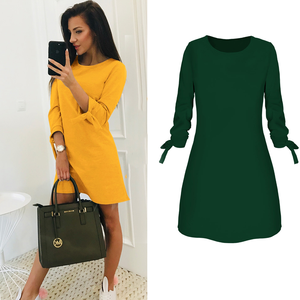 a6c29a228c US $5.99 25% OFF 2019 Spring New Fashion Solid Color Dress Casual O Neck  Loose Dresses 3/4 Sleeve Bow Elegant Beach Female Vestidos Plus Size-in ...