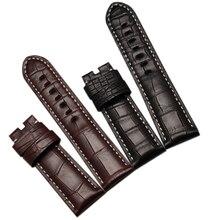 Cocodrilo correa de cuero con blanco cosido 24 mm para hombre relojes mecánicos automáticos cocodrilo de la alta calidad accesorios nuevos