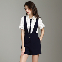 2019 New Pretty Fake Two Jumpsuits For Women High Quality Fashion Short Sleeve Turn Down collar Slim Jumpsuits