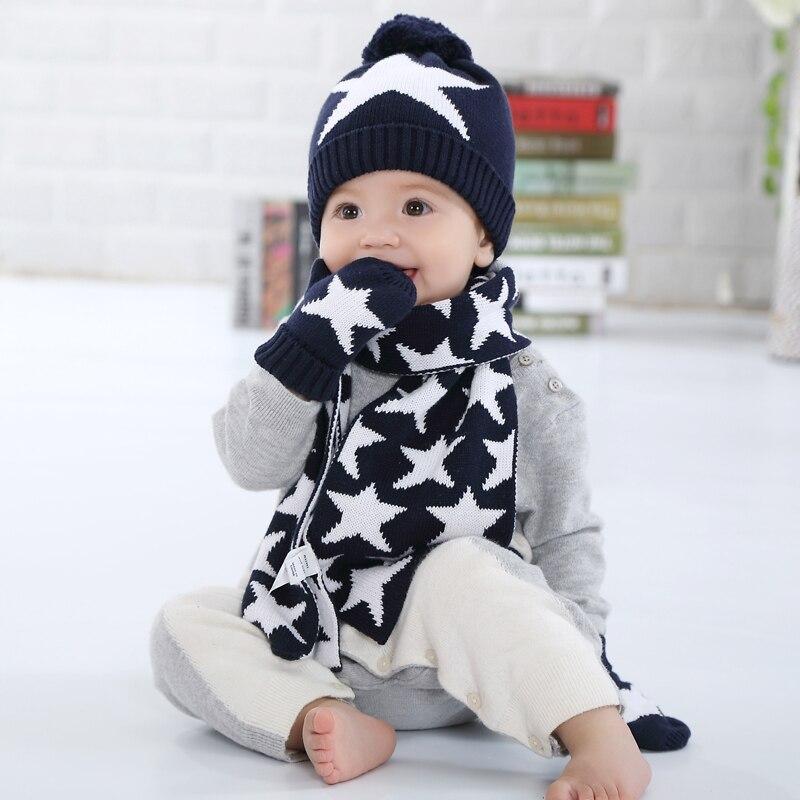 Для мальчиков и девочек шапка, шарф и Прихватки для мангала комплект детский вязаный Кепки Детские Осень-зима модная детская одежда Шапки О...