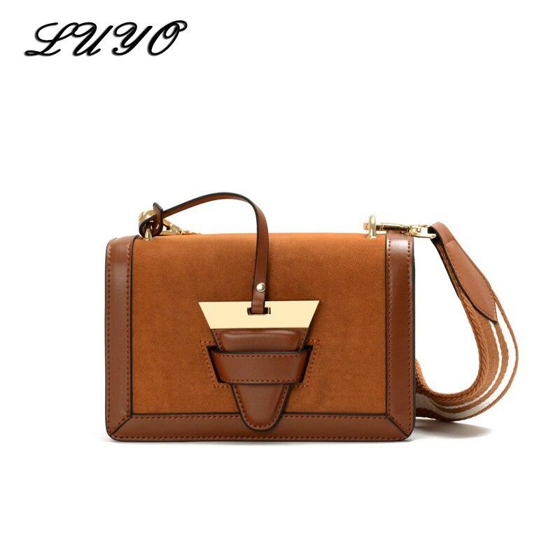 LUYO Wide Strap Small Shoulder Leather Suede Luxury Handbags Women Messenger Bags Designer Flap Bolsos Mujer Summer Bag Girl