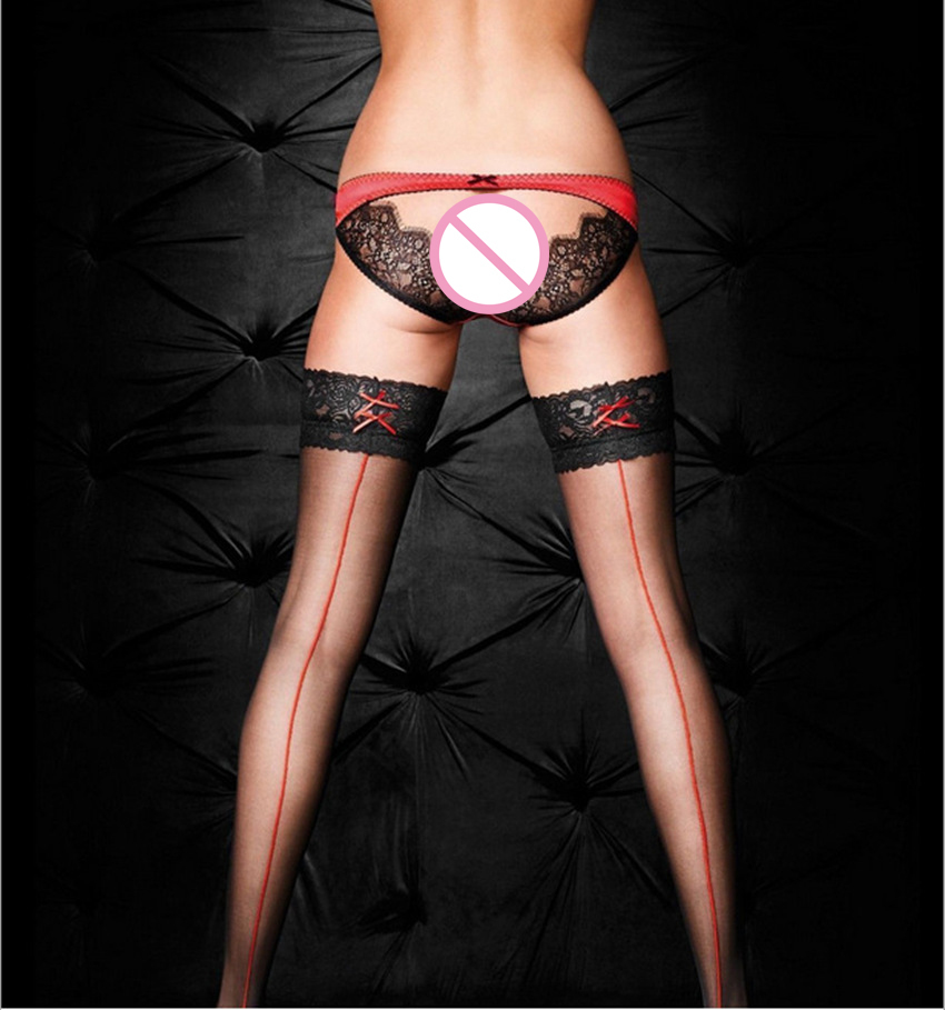 Women Thigh High Stocking Women Stockings Cuban Heel Back Seam Stockings Lace Sexy Lingerie Transparent Long Stockings SW073