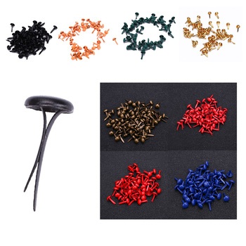 50pcs/set 2 Size Fashion Mixed Round Brads Solid Color Decorative Metal Nails Scrapbooking Card Stamping Home DIY Accessories image