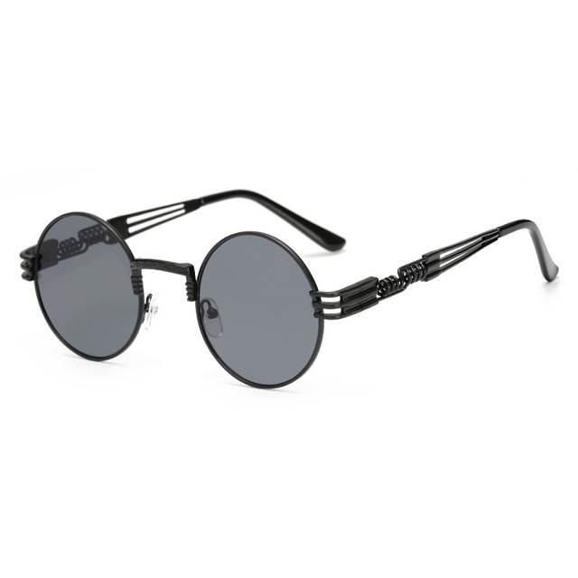 Gothic Steampunk Óculos De Sol Dos Homens do Metal Rodada Shades Masculino  Transparente Sol óculos Para 6652ce6dfe