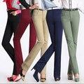 2016 Venda Quente primavera outono novas mulheres calças retas calças Slim plus size calças de cintura alta mulheres G257