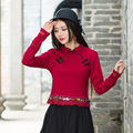 Retro Clothes O-neck Casual Large Size Embroidery Basic Cotton T Shirt Costume Long Sleeve Women Tee spring Autumn